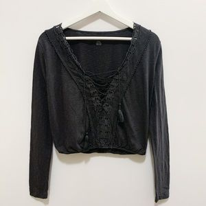 American Eagle Dark Grey Tassle Cinched Top